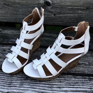 A.N.A. White Caged Wedge Sandals Size 8